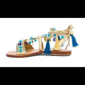 Mystique Gold and Turquoise Wrap Sandal